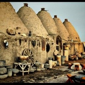 "Harran was a major ancient city in Upper Mesopotamia Urfa province Turkey . ""Anatolian Civilisations"", . Harran, the city was the chief home of the Mesopotamian moon god Sin, is famous for its traditional 'beehive' adobe houses, constructed entirely without wood. The design of these makes them cool inside and is thought to have been unchanged for at least 3,000 years. The tower on the horizon was an early observatory used for gazing at the galaxies and for worshipping the Moon God."