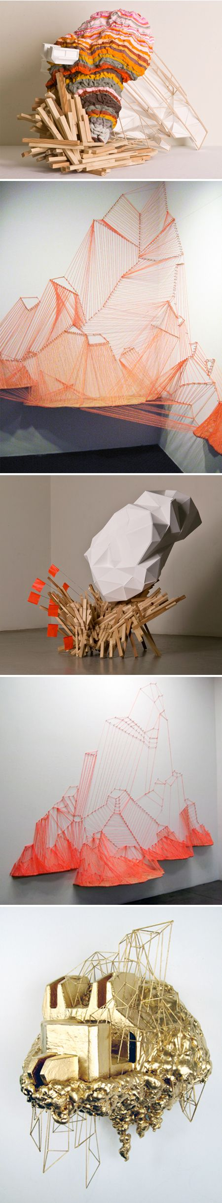 "sculptures by LA based artist Aili Schmeltz. ""I am fascinated by the hybridized structures and blatant artifice of the city in both it's natural and man made environments where hill top homes float precariously overhead on earth that has a topographical complexity of embedded catastrophe."""