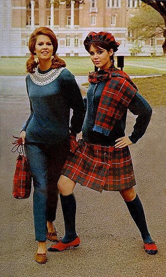 Tartan Back to School Fashion ~ Seventeen Magazine 1966