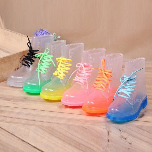 Womens Sweet Ankle Rain Boots Round Toe Clear Candy Color Lace Up Rubber Shoes | eBay