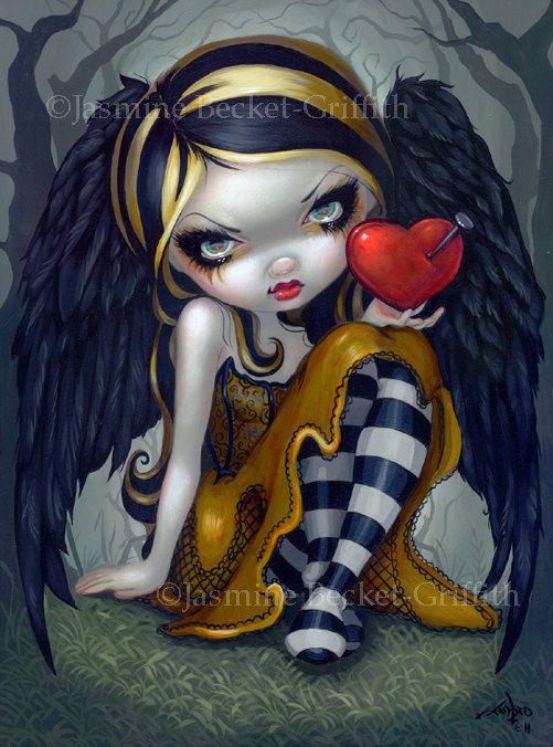 Cœur des ongles angel dark goth fée art imprimé par Jasmine Becket-Griffith 8 x 10