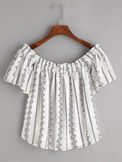 White Boat Neck Printed Crop Top