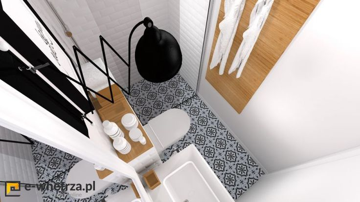 Marokanska mini łazienka 3 :) Biel przełamana jest  dodatkami z drewna oraz wzorzystą podłogą w stylu marokańskim. Pomieszczenie jest niezwykle małe, dlatego dodaliśmy jasne kolory oraz niewielkie wymiary kafli ściennych i podłogowych. Drzwi do kabiny zastanawialiśmy przesuwne, gdyż inne były by uciążliwe w użytkowaniu (ze względu na WC)