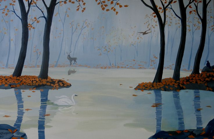 "Autumn Interlude, acrylic on canvas measuring 19"" x 29"", set on a rural pond. Wrap around Gallery canvas, no frame. $590."