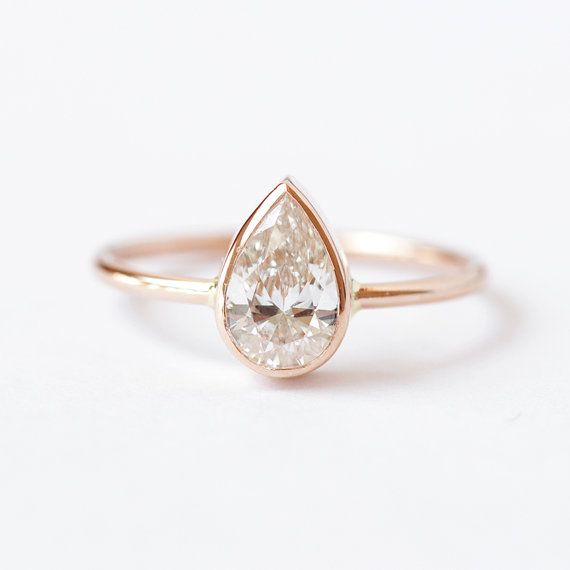 0.75 Carat Solitaire Pear Diamond Engagement Ring 18k by artemer, $5200.00