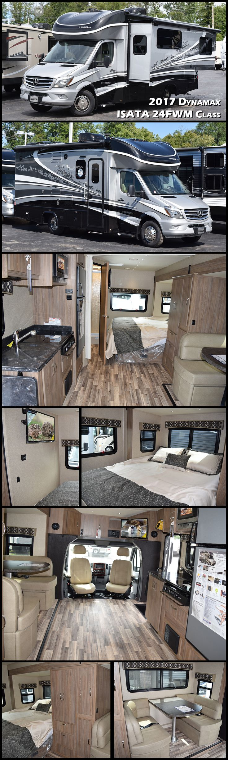Built on the fuel efficient Mercedes Sprinter platform, the 2017 DYNAMAX ISATA 3 model 24FW Class C motorhome embodies everything you love about Dynamax. Legendary full body paint, contemporary interiors and functional living space, paired with a high performance chassis. The Isata 3 boasts an extensive list of upgraded, standard features not found in similar products and as always, the industry leading two-year warranty comes standard.