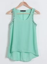 Green Sleeveless Rivet Dipped Hem Chiffon Vest $24.11 #SheInside