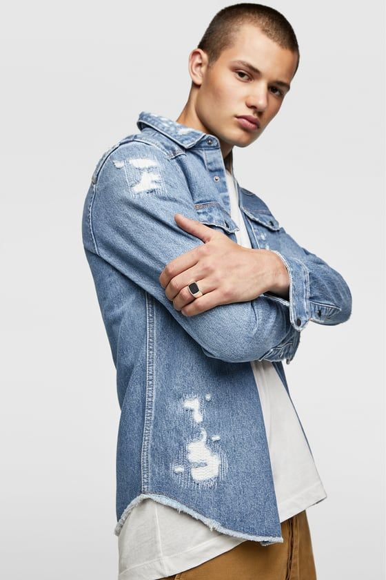 360c930fb1 RIPPED DENIM OVERSHIRT - Item available in more colors