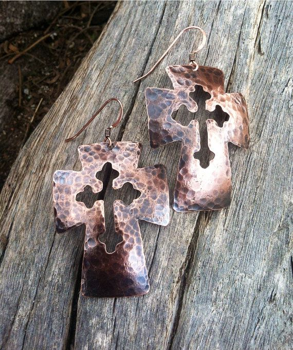 Recycled Copper Hammer Textured Cross Cut Out Earrings