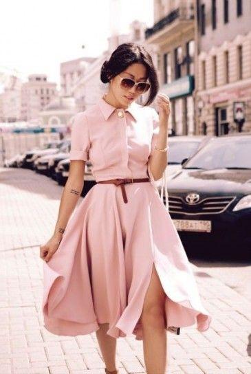 Chic pink pastel mini dress.