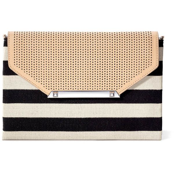 Stella & Dot City Slim Clutch - Black/Cream Clean Stripe ($59) ❤ liked on Polyvore featuring bags, handbags, clutches, purses, bolsos, black cross body purse, mini crossbody handbags, black crossbody purse, black crossbody handbags and black handbags