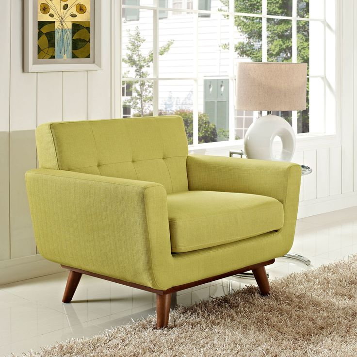 Engage Armchair Upholstered With Dual Cushions Rubberwood Frame Construction Features Seven Tufted Buttons Brand Modway Origin Imported