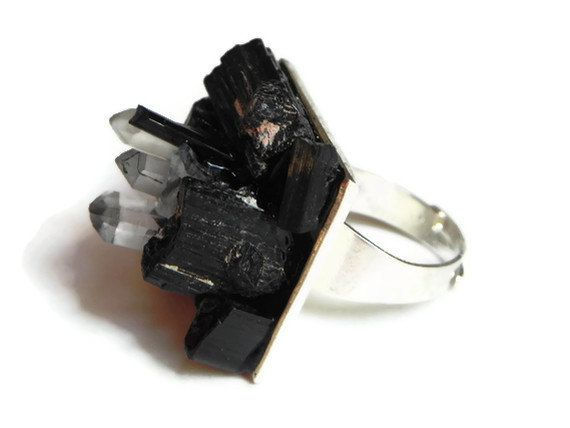 raw black tourmaline ring, mineral cluster ring, crystal point cocktail ring, mineral statement ring, raw crystal ring. $46.00, via Etsy.