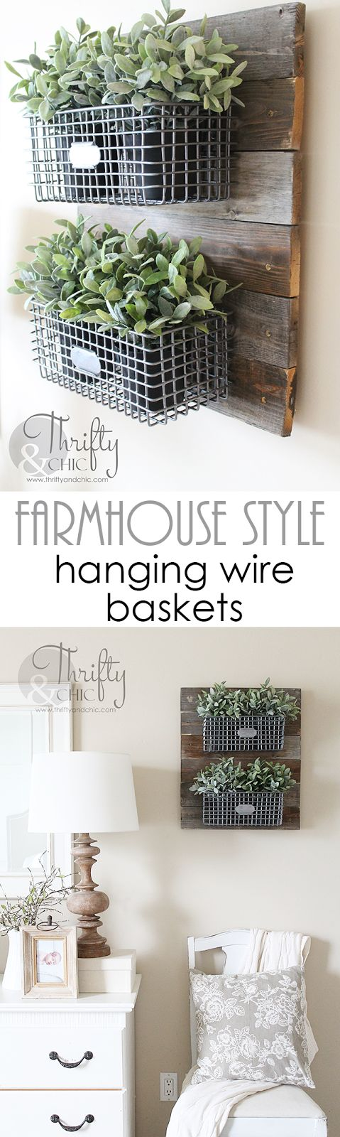 DIY Farmhouse Style Hanging Wire Baskets On Reclaimed Wood.