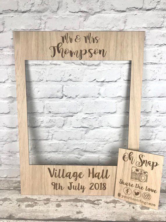Selfie Instagram Wedding Frame Photo Props Personalised Wooden