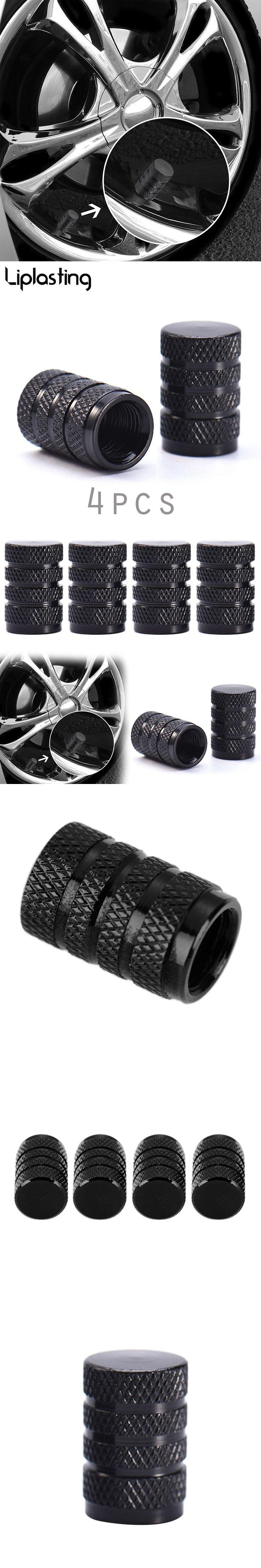 Liplasting USA 4PCs Black Durable Aluminium Alloy Dust Cover Wheel Tire Tyre Rim Valve Stem Caps Replacement for Car Truck