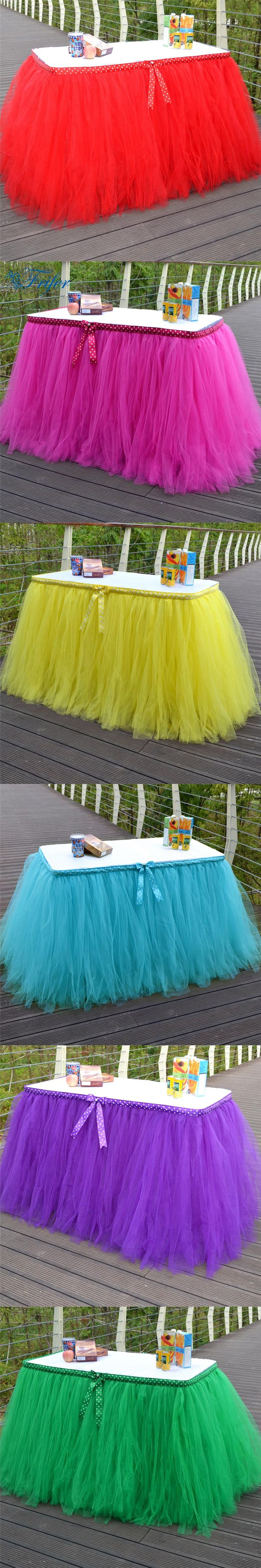 6 colors Tulle Wedding Table Skirts Decorative Handmade Table Skirting for Wedding Banquet Birthday Baby Shower Parties Decor