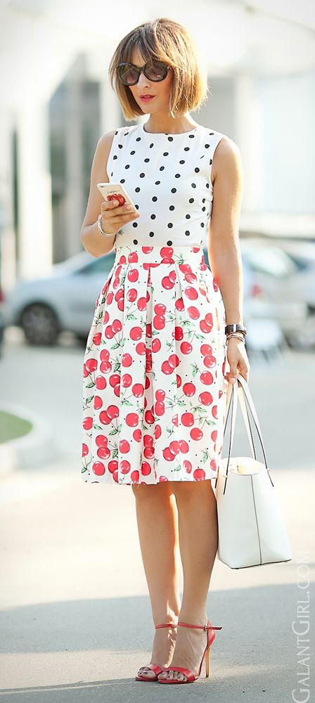 #cherry #cherries #cherryPrint #ChicStyle #Cute #CuteStreetStyle #GalantGirl