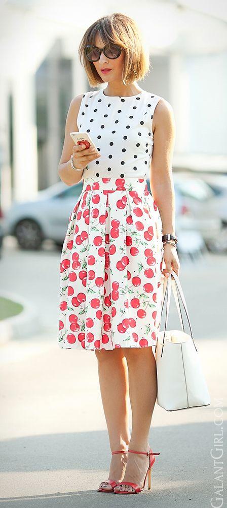 #cherry #cherries #cherryPrint #ChicStyle #Cute #CuteStreetStyle #GalantGirl