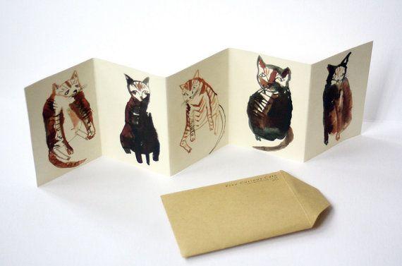 Mini cat zine concertina book || FIVE CURIOUS CATS