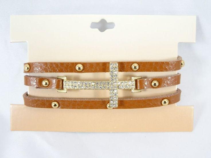 Brown Leather Bracelet With Crystal Sideways Cross & Grommets #B1419