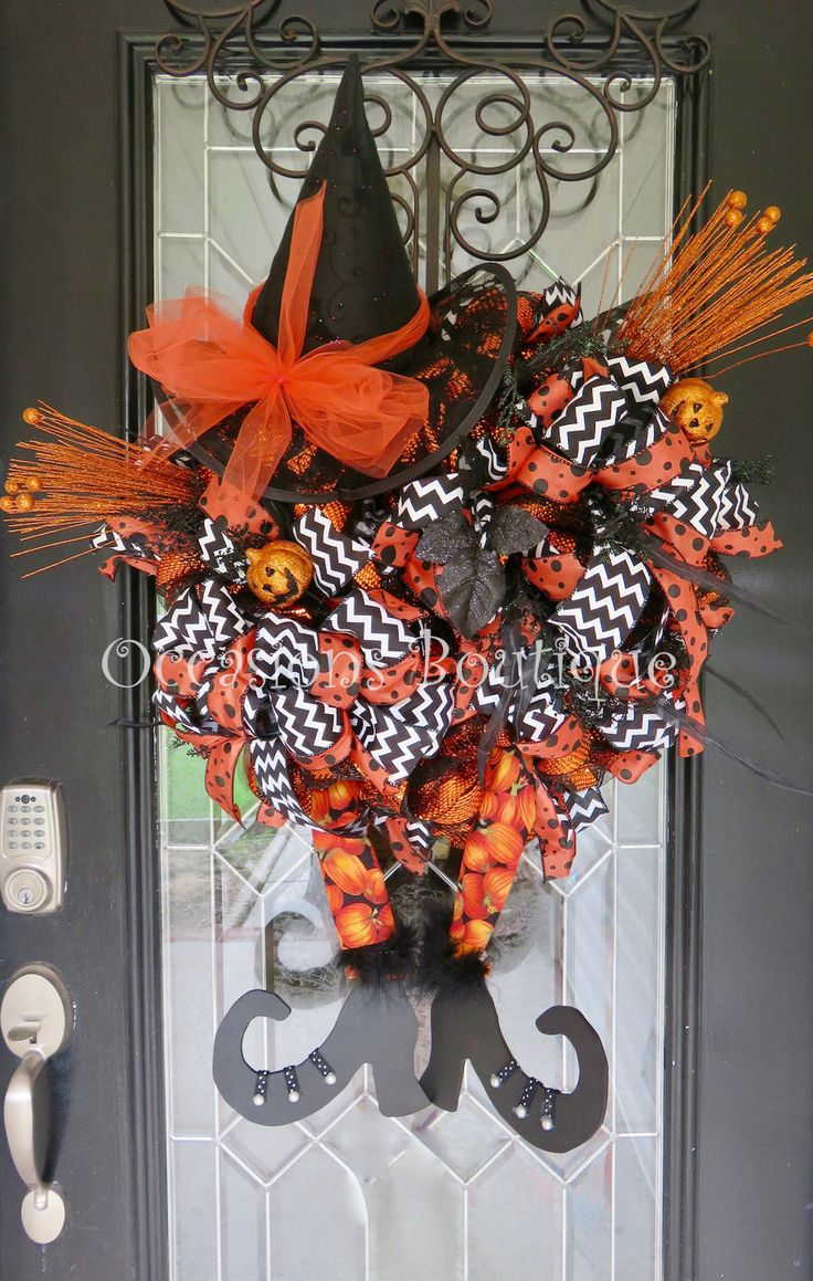 Halloween Wreath, Witch Wreath, Deco Mesh Halloween Wreath, Large Wreath, Fall Wreath, Front door wreath, wreath for door, Door Hanger by OccasionsBoutique on Etsy