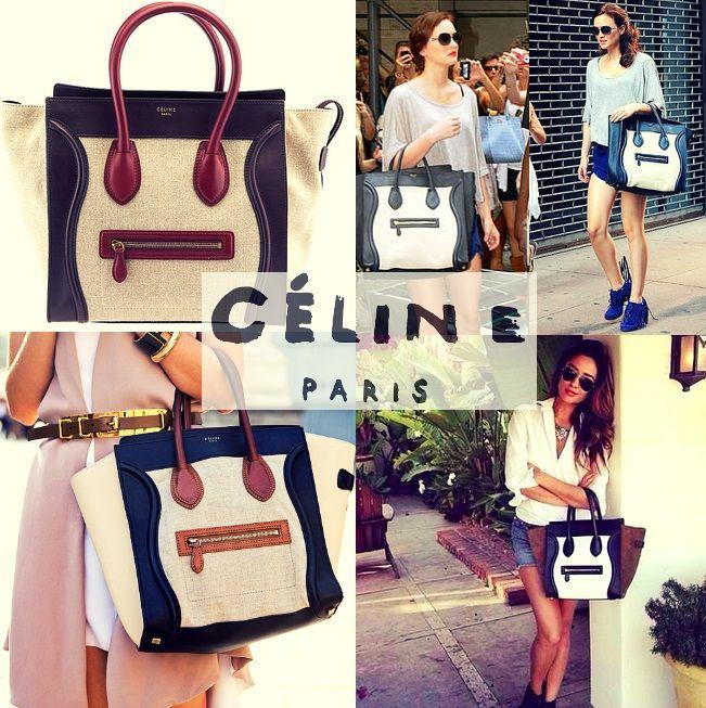 NewArrival   :   #Celine Mini Luggage Tricolor Linen \u0026amp; Leather ...