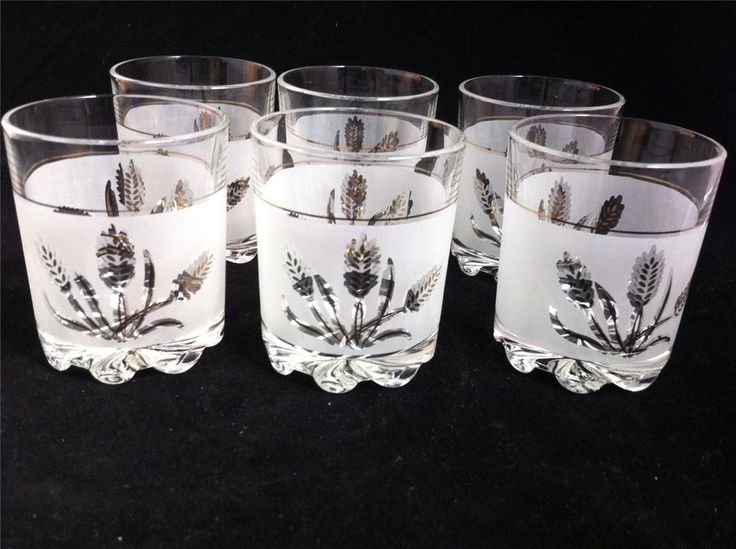 6 Vtg MCM Cerve Rocks Windrose Silver Frosted Wheat Glassware Barware Italy EUC