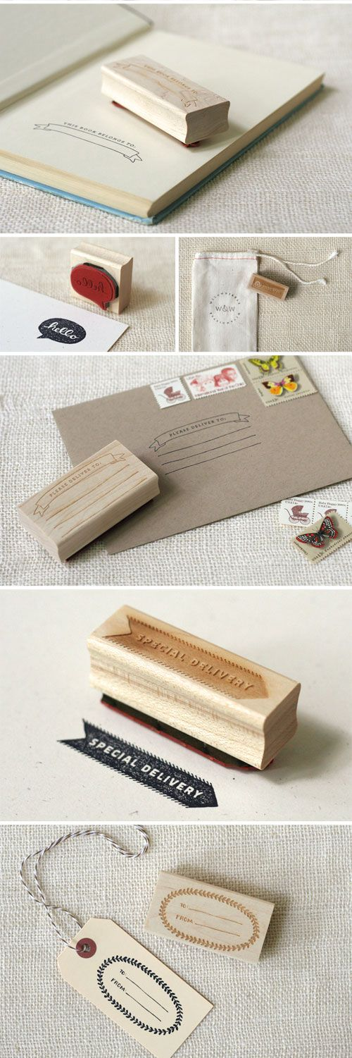 wit and whistle; beautiful photos, lots of typography and similar design aesthetic: Rubber Stamps Ideas, Craft, Whistle Rubber, Envelope, Carve Stamps, Design, Custom Stamps