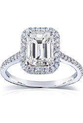 Изумруд Муассанит &амп; обручальное кольцо с бриллиантом 2 карата (бкм) в 14k Белое золото