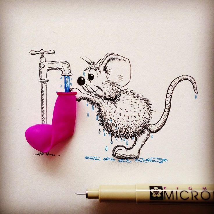 Loïc Apreda est un artiste suisse qui fait vivre de multiples aventures à sa souris Rikiki dans des dessins au Pigma Micron. Des dessins dans lesquels il incorpore des objets réels pour des mash-up...