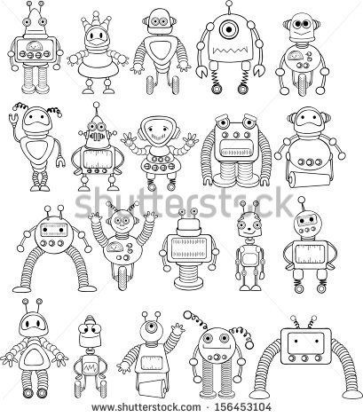 Big set of coloring cartoon robots - vector