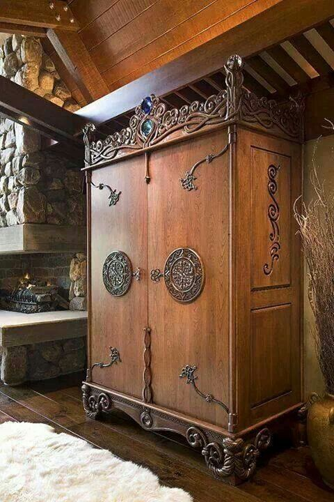 Beautiful wooden armoire with Celtic designs. Seems very large but is both unique and gorgeous! #Celtic