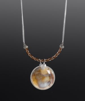 Silver and Copper Necklace with Andean Tiger's Eye by Coco Paniora Salinas