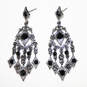 Price: $20.00  On Jet Austrian crystal casacding chandelier style earrings measure 2.75 inches long. Includes gift box.