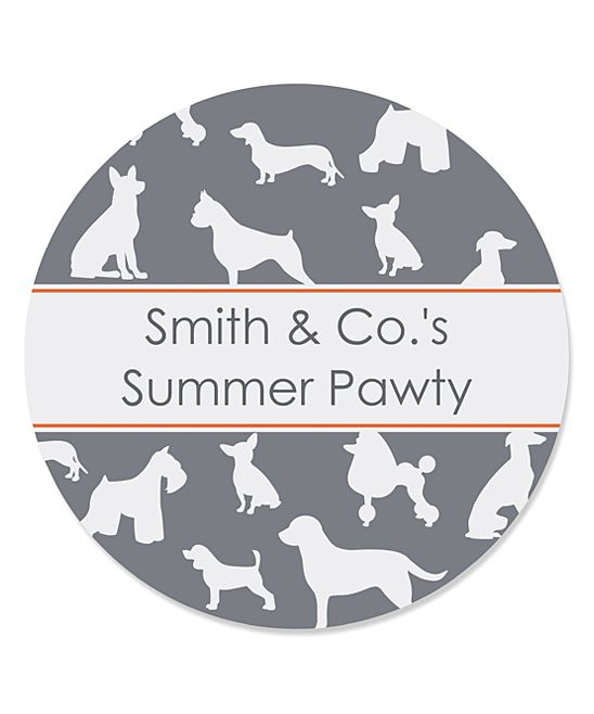 Dog Silhouettes Personalized Round Sticker - Set of 48