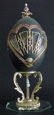 Country Garden decorated emu egg, back view