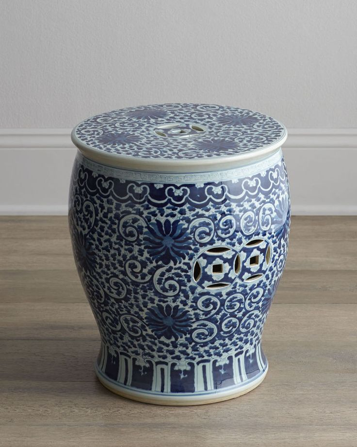 BLUE AND WHITE TWISTED LOTUS CHINESE GARDEN STOOL,  Indoor / Outdoor, HORCHOW #Asian $349