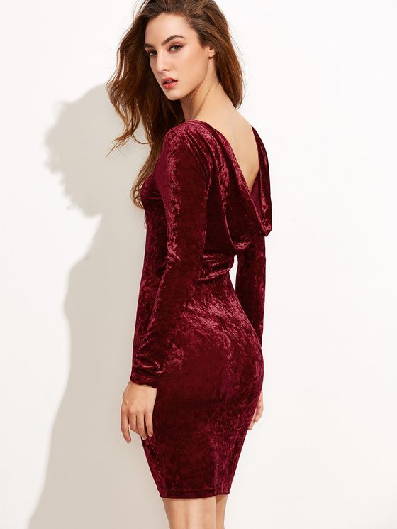 Online shopping for Burgundy Draped Back Velvet Bodycon Dress from a great selection of women's fashion clothing & more at MakeMeChic.COM.