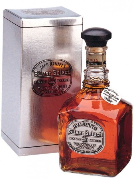 """Jack Daniels Silver Select – Old Shape Bottle with Box. Jack Daniels produce two different Single Barrel whiskies – one standard single barrel, and the """"Silver Select"""" bottled at 100 proof. Every bottle of Jack Daniels Single Barrel whiskey absorbs its own personality from the charred oak barrel it matures in, which in turn are influenced by their location in the warehouses around Lynchburg."""