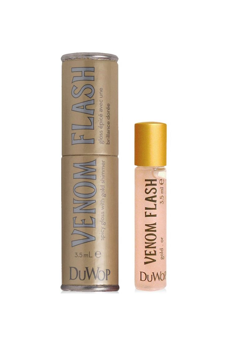 Venom Flash by DuWop™ is the same formula as Lip Venom, spiked with subtle gold (warm) or silver (cool) shimmer. Once applied to your lips, Venom Flash reflects the light, giving them extra sheen for the fullest, flashiest lips.  The same tingly formula from Lip Venom is used as a base in Venom Flash, to which we added tiny particles of mica - a mineral known for its beautiful pearly shine, and combined with the Lip Venom formula, gives lips a shimmery luster.