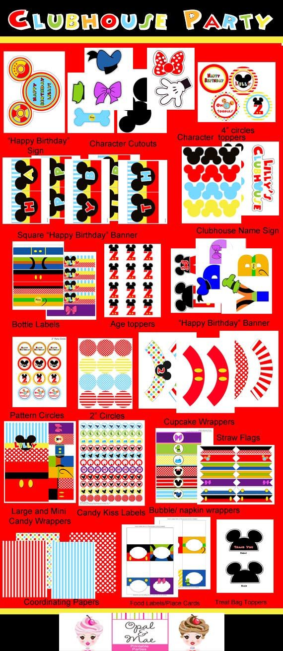 Mickey Mouse Clubhouse Inspired Printable Party by OpalandMae, $29.00
