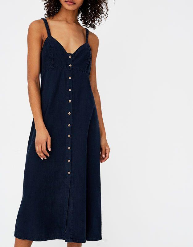 Vestido largo con botones delanteros - Novedades - Mujer - PULL BEAR México 2fc7c351e09