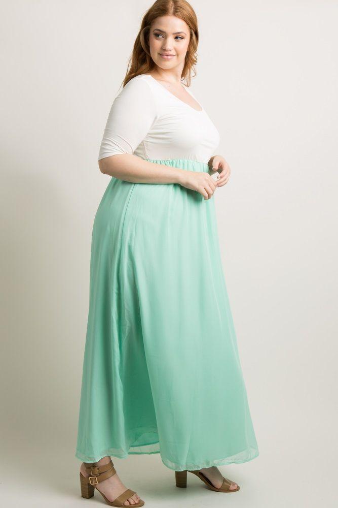 Mint Chiffon Colorblock Plus Maxi Dress in 2019 | Bree Kish ...