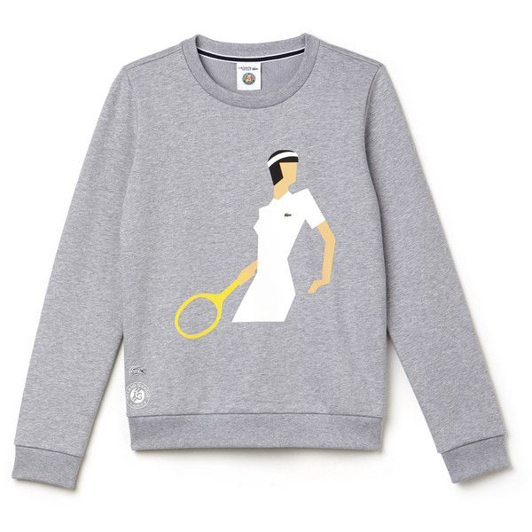 Grey Women's Lacoste Sport Roland Garros Edition Print Sweatshirt ($135) ❤ liked on Polyvore featuring tops, hoodies, sweatshirts, mixed print top, lacoste tops, lacoste sweatshirt, print sweatshirt and fleece tops
