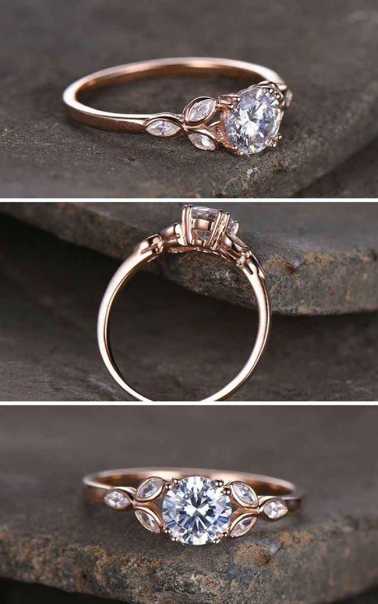 Sterling silver ring/Round cut Cubic Zirconia engagement ring/CZ wedding ring/Three flower marquise/promise ring/Xmas gift/Rose gold plated #affiliate #weddings #rings #weddingring