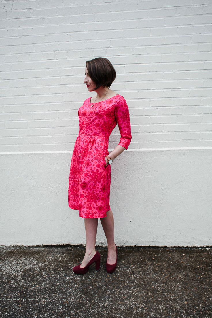 Sarai's pink silk Rue dress