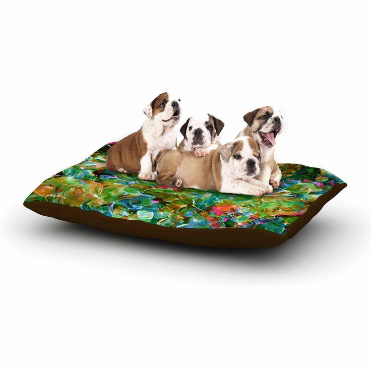 "Ebi Emporium ""Bloom On! Tropical "" Green Blue Dog Bed"