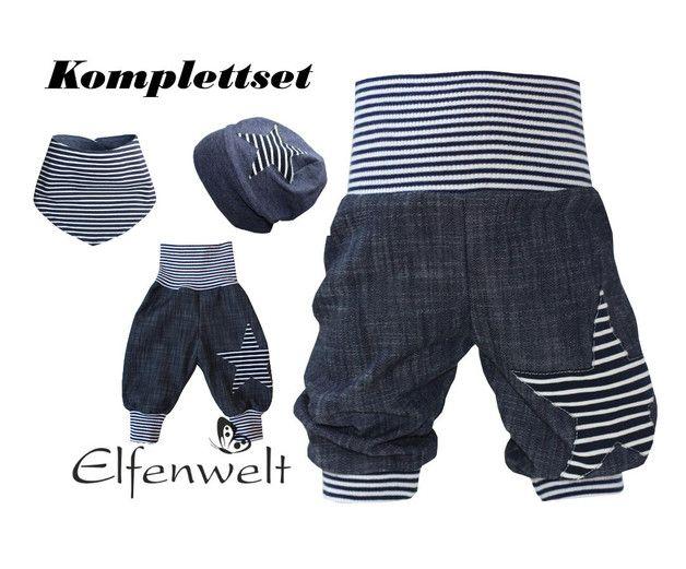 """Hosen - Babyset Gr.56 bis Gr.86 Jeans """"Stern"""" dunkelb-weiß - ein Designerstück von Elfenwelt12 bei DaWanda"""