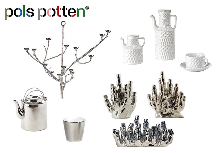 Pols Potten- 1. Silver wall twig candle holder small $293, 2. White ceramic abstract kettle (wide) $179, 3. White ceramic abstract kettle (tall) $162, 4. White ceramic abstract cup and saucer set of 4 $338, 5. Silver ceramic kettle $74, 6. Silver ceramic cup set of 6 $62, 7. Silver ceramic coral medium $293, 8. Silver ceramic coral large $356.